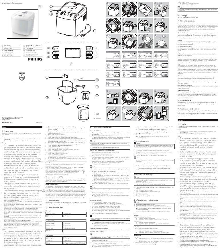Manual masina de facut paine Philips HD9015