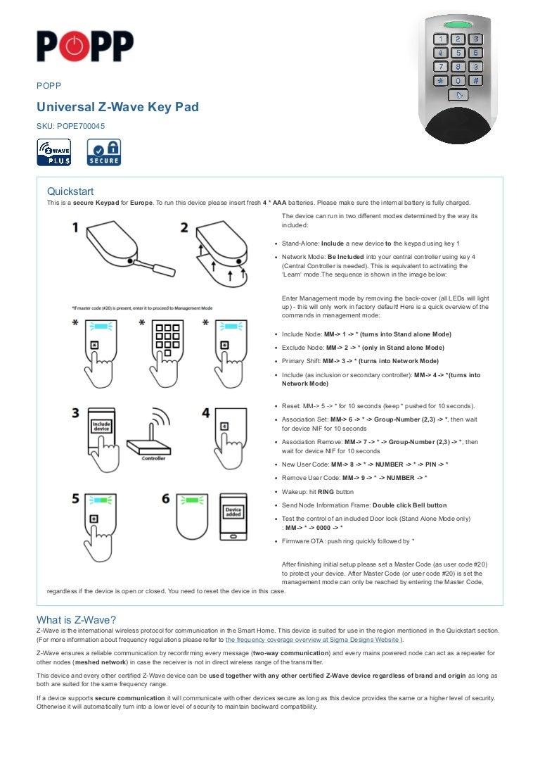 Z-Wave Keypad Manual - PoPP