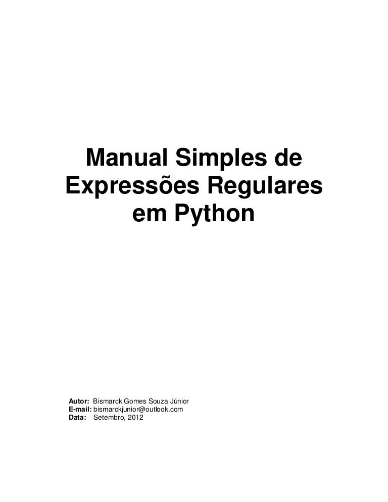 Manual Simples Expressões Regulares Python