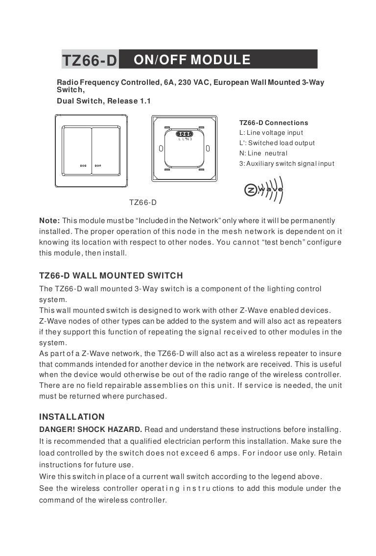 Manual Tkb Tz66d Switch Voltage Sensitive Circuit Buy
