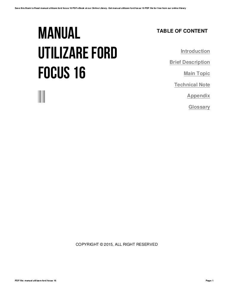Manual utilizare ford focus 16