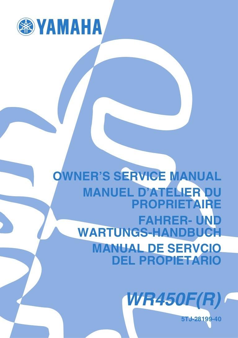 Manual yamaha wr450f on