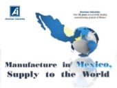 Manufacture in Mexico, supply to the world