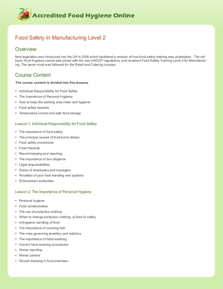 Food Safety In Manufacturing Level 2