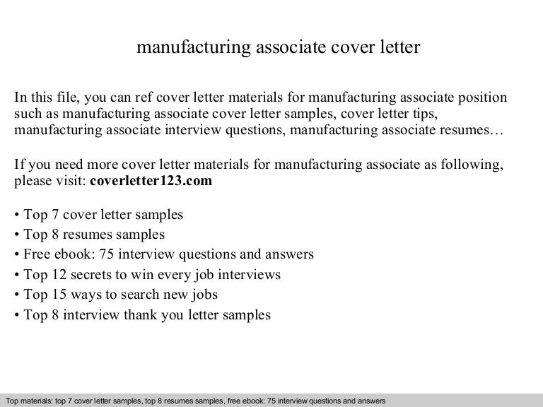Manufacturing Associate Cover Letter