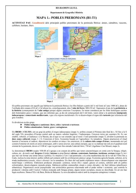 MAPA 1. COMENTARI POBLES PREROMANS