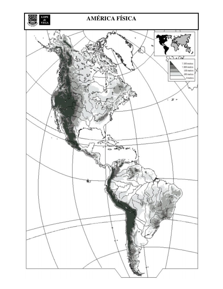 Mapa Mudo Fisico America