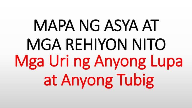Mapa ng asya at rehiyon nito   anyong lupa at anyong tubig