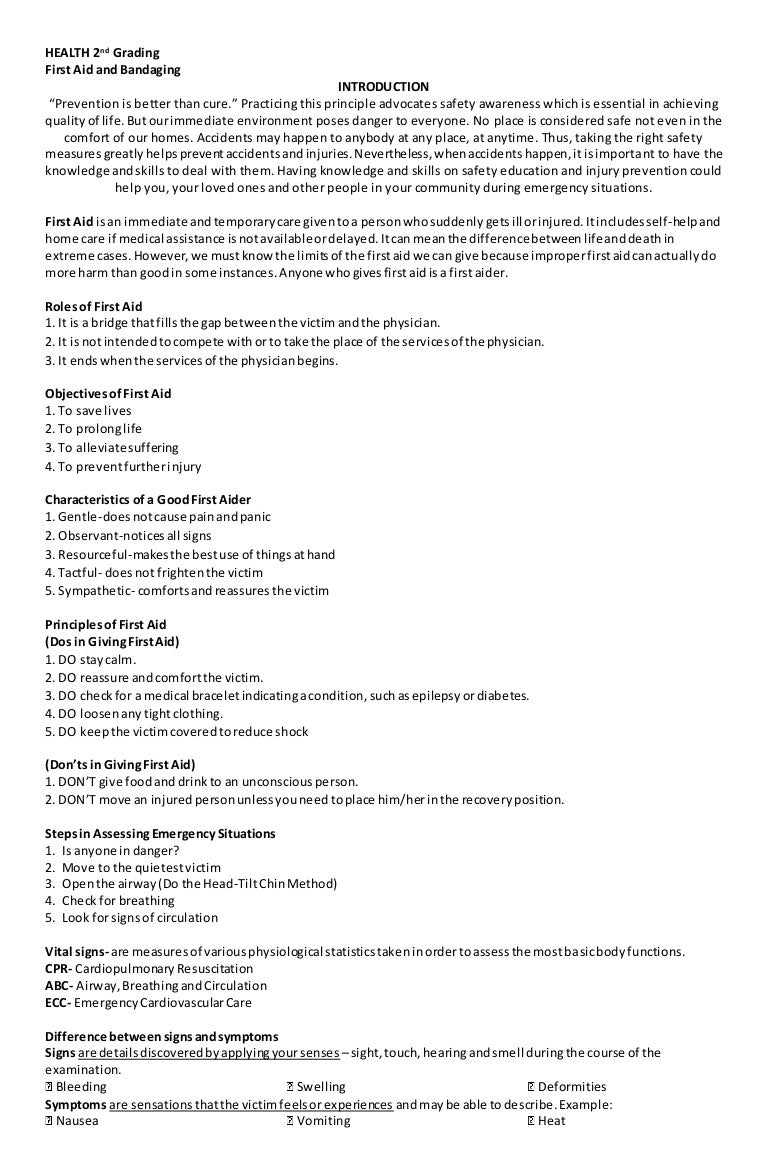 worksheet First Aid Worksheet Answers mapeh health q2 first aid and bandaging