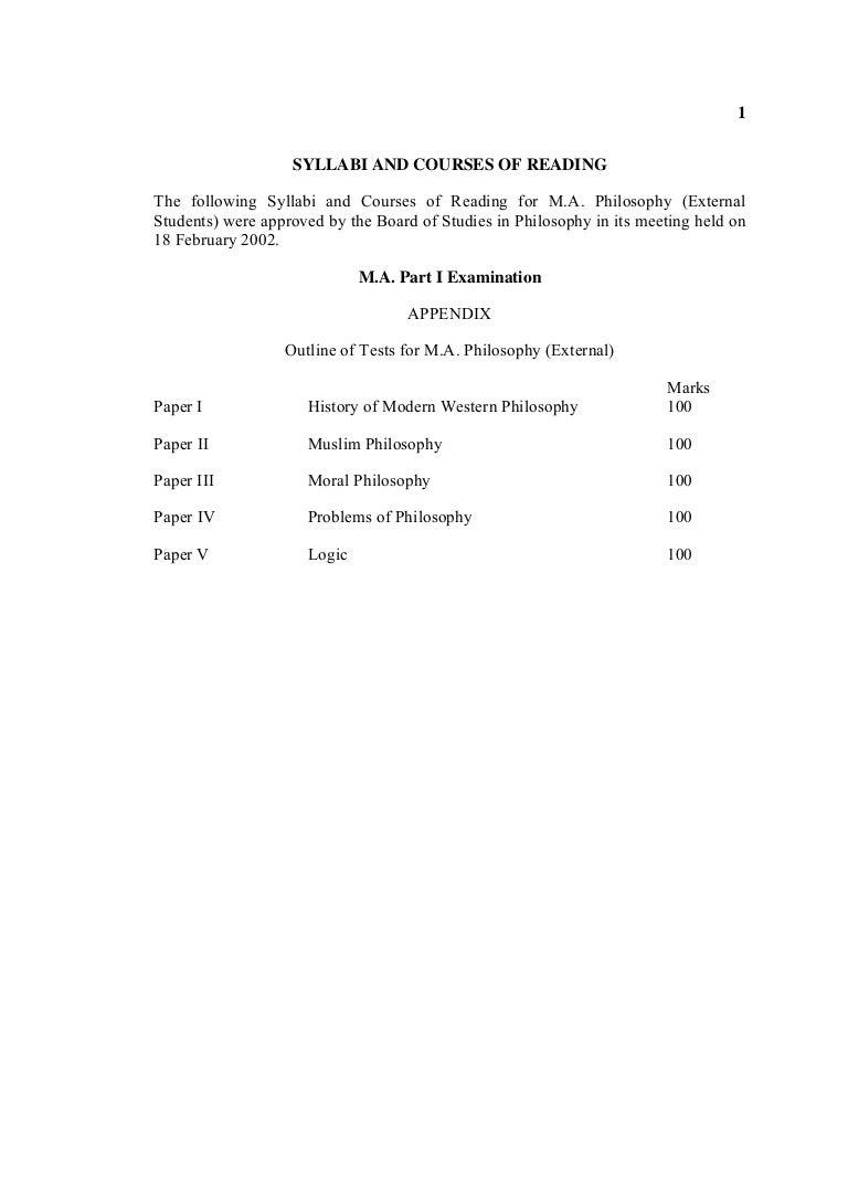 Course outline for ma philosophy punjab university falaconquin