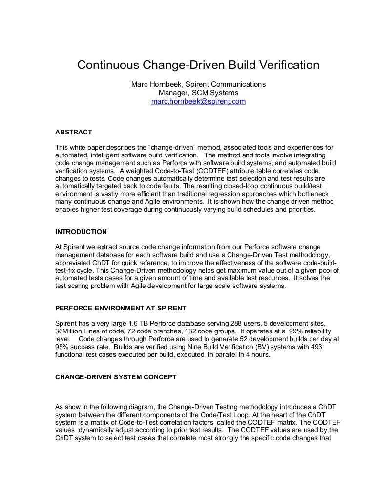 white paper continuous changedriven build verification