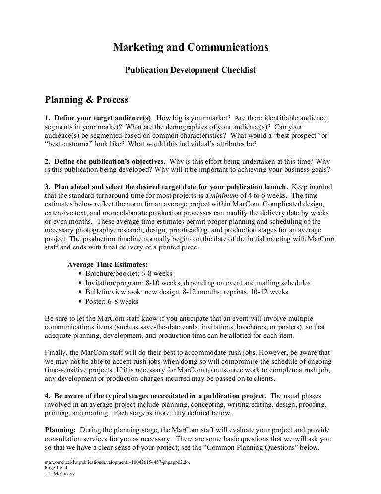 Marcom checklist publication development stopboris Choice Image