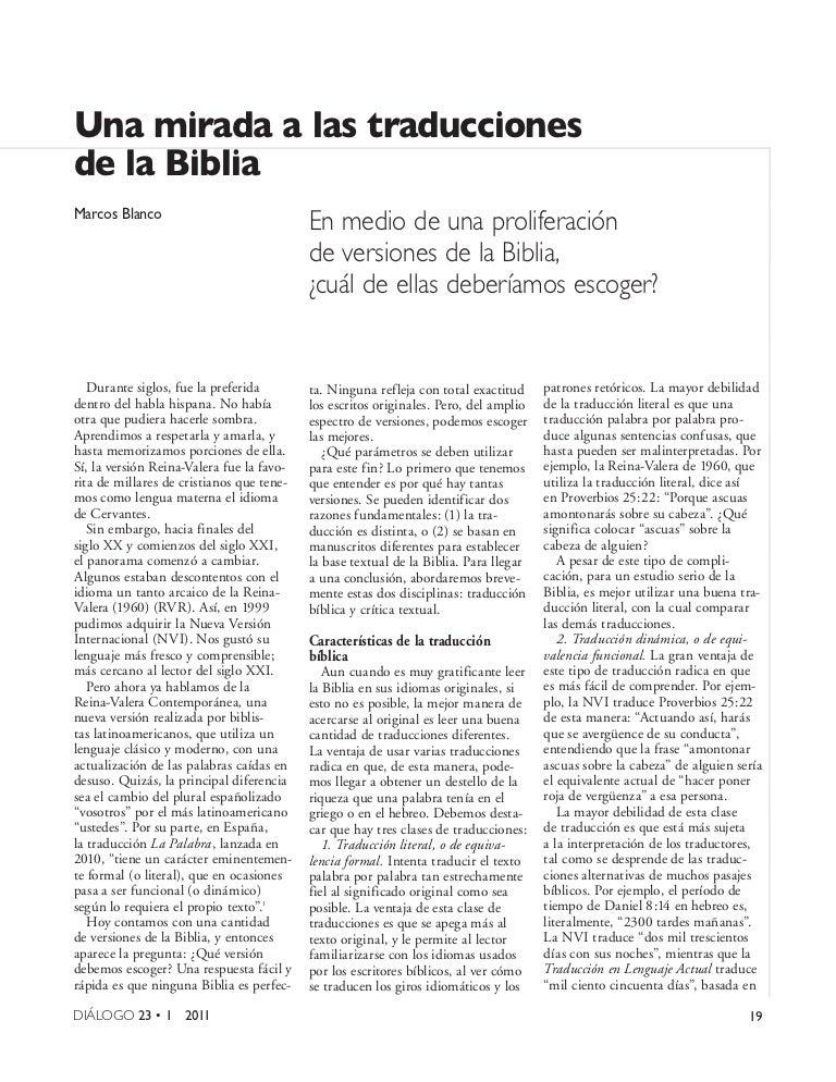 Marcos Blanco - Una mirada a las traducciones de la Biblia