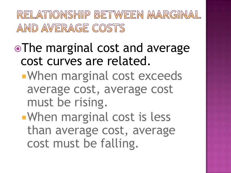 the relationship between marginal and average costs