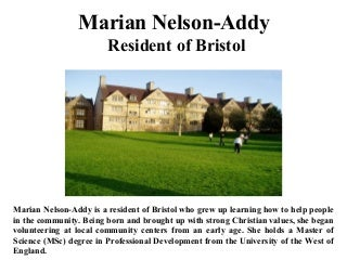 Marian nelson addy resident of bristol