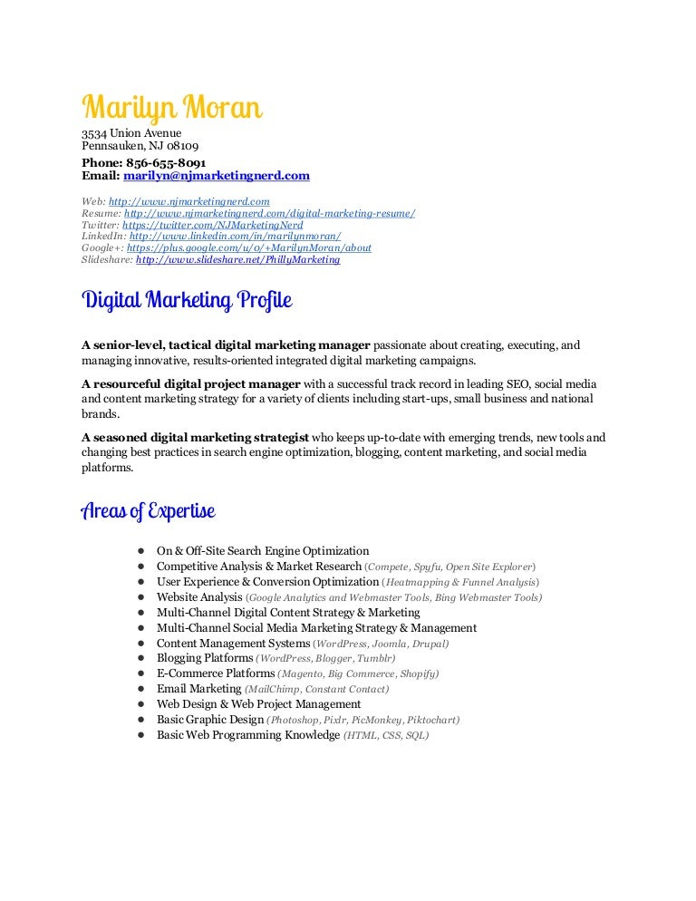 digital marketing manager resume marilyn moran