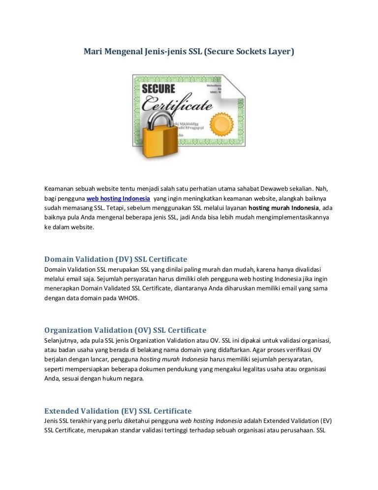 Mari mengenal jenis jenis ssl (secure sockets layer)