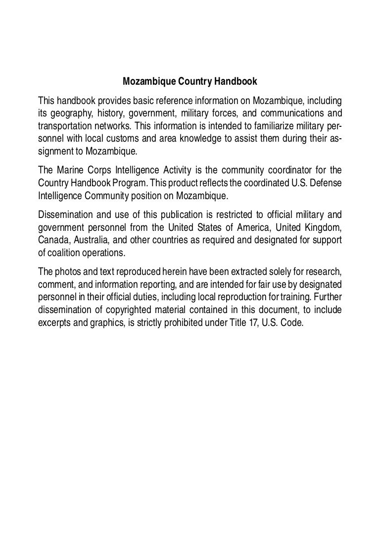 marine corps intelligence activity mozambique country handbook