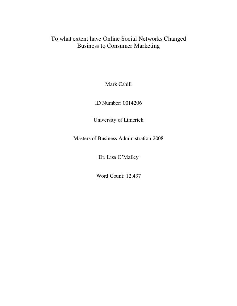 Mark Cahill MBA thesis - To what extent have Online Social Networks C…