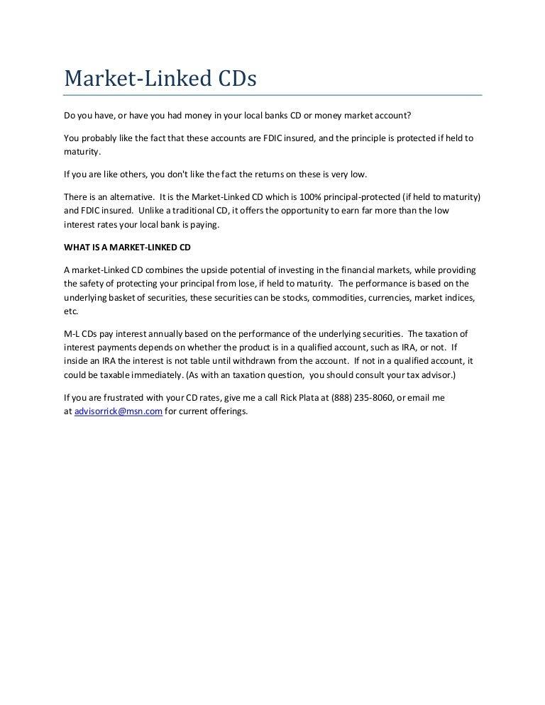 Market Linked Bank Cds Principal Guarantee Fdic Insured
