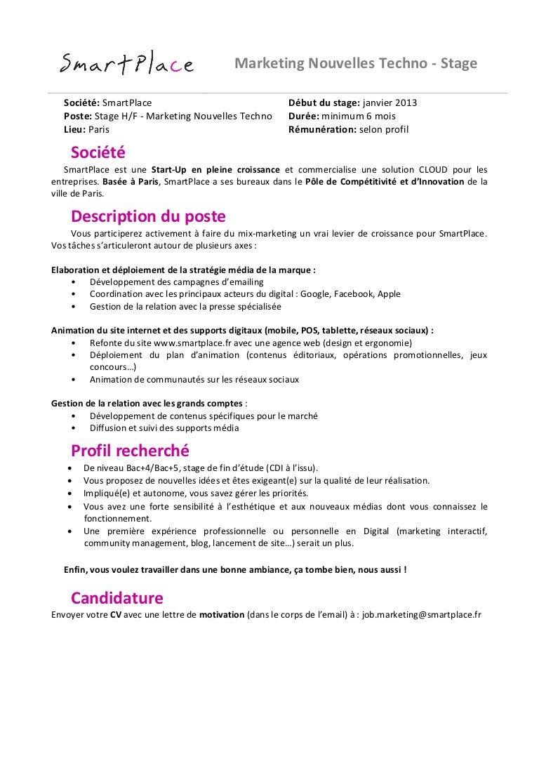 Epub Lettre De Motivation Stage Marketing Digital