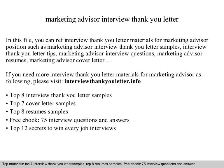 Marketing Advisor - Marketing advisor cover letter