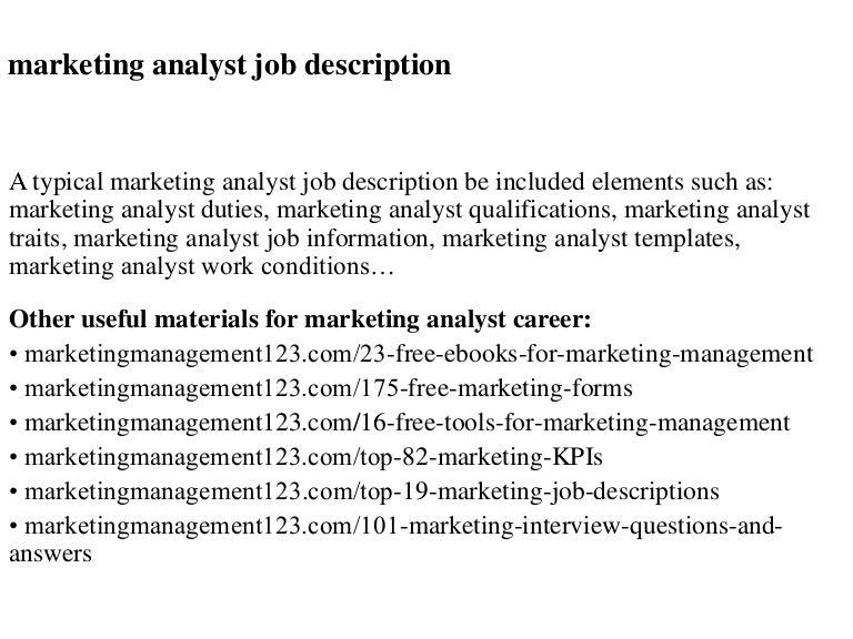 Marketing analyst job description