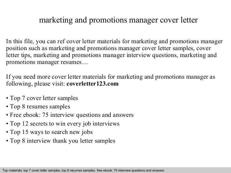 Marketing And Promotions Manager Cover Letter