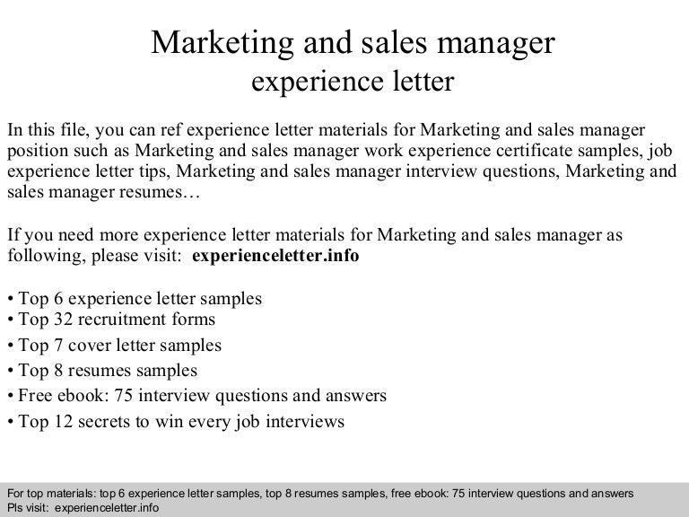 marketingandsalesmanagerexperienceletter 140826120321 phpapp01 thumbnail 4jpgcb1409054628 - Sales Manager Interview Questions Sales Job Interview