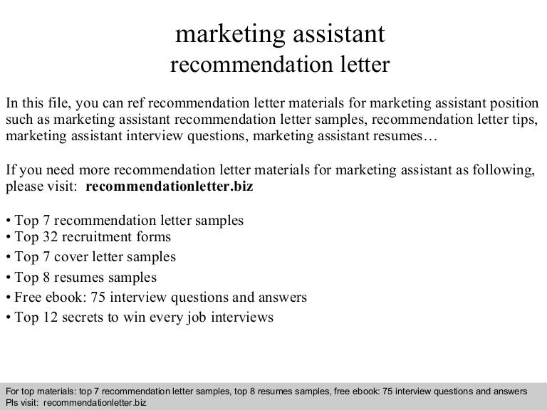 Marketing Assistant Recommendation Letter