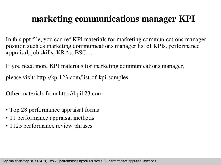 Marketing Communications Manager Kpi