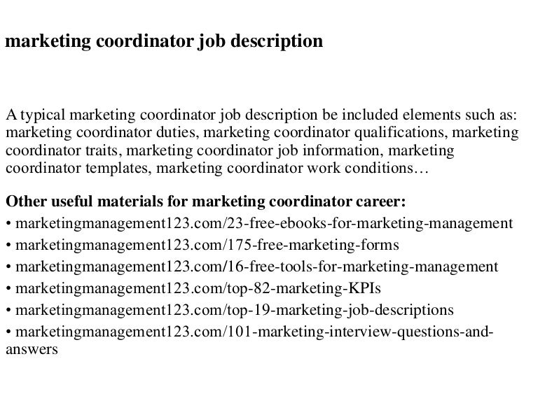 Marketing coordinator job description – Coordinator Job Description