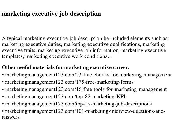 Marketing executive job description – Marketing Job Description