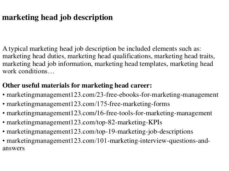 Marketing Head Job Description