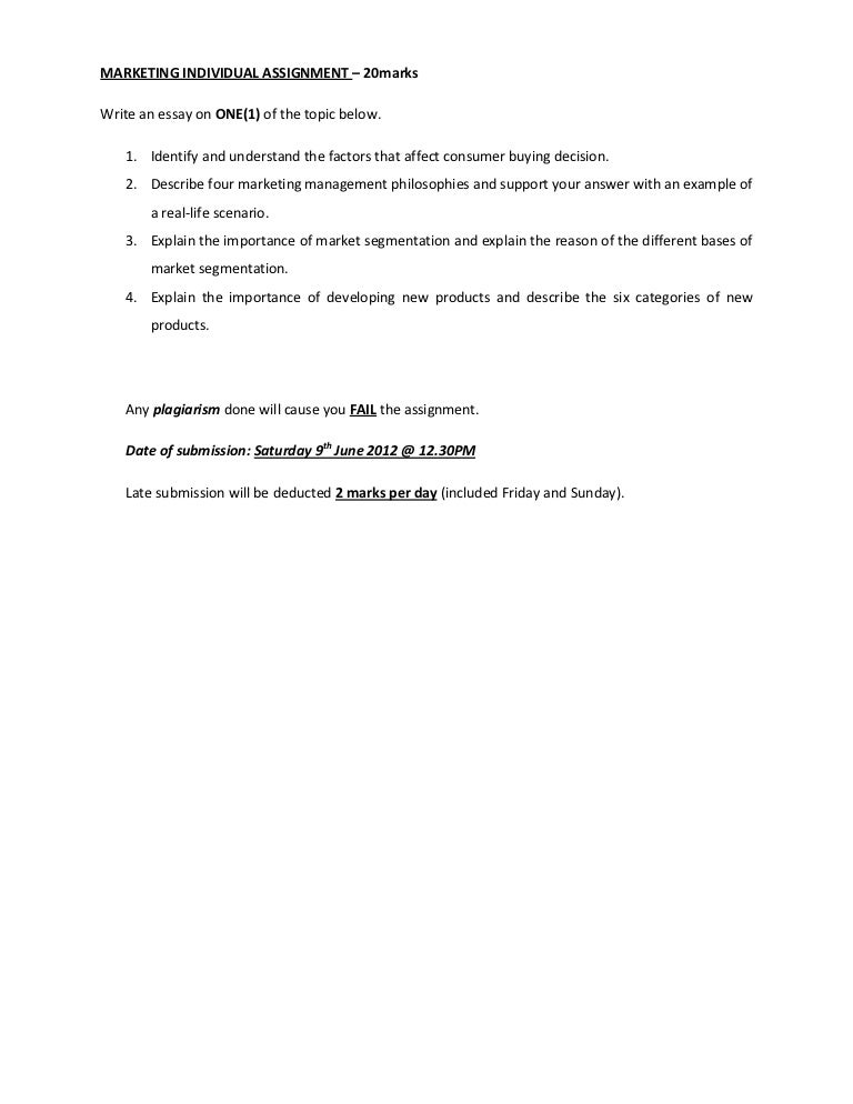 marketing plan assignment for mba