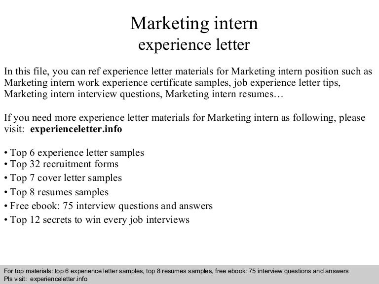 marketing intern resume