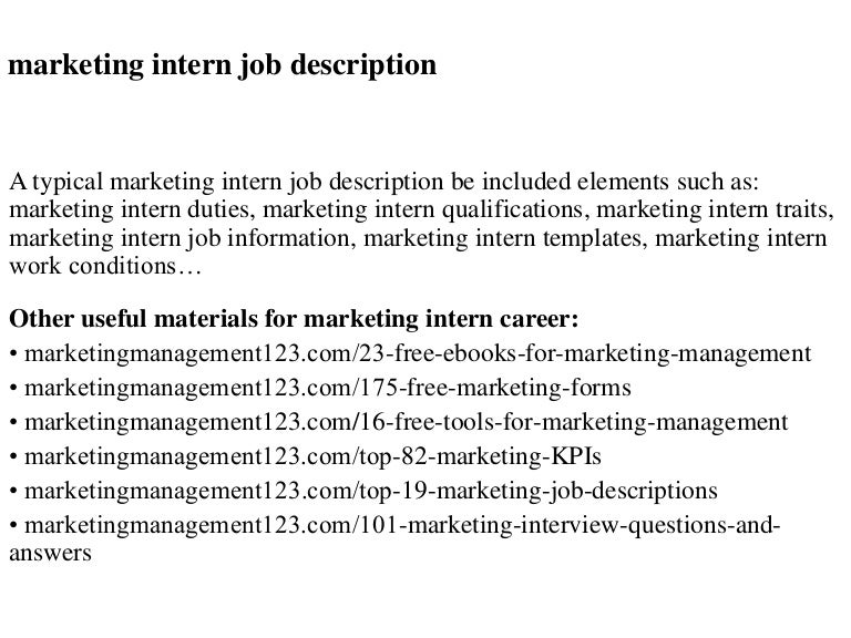 Marketing intern job description – Digital Marketing Job Description