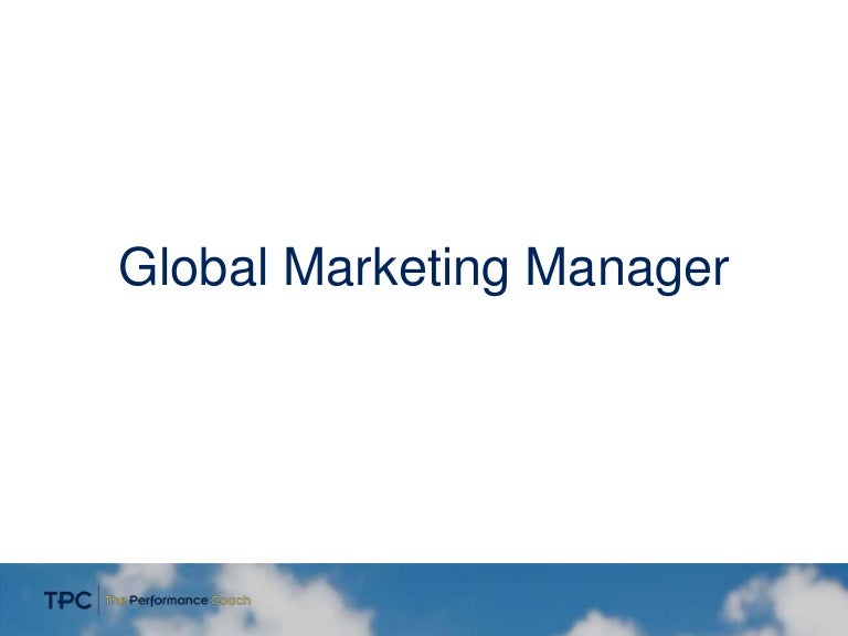 Job Posting - Global Marketing Manager Tpc