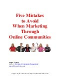 Five Mistakes to Avoid When Marketing Through Online Communities