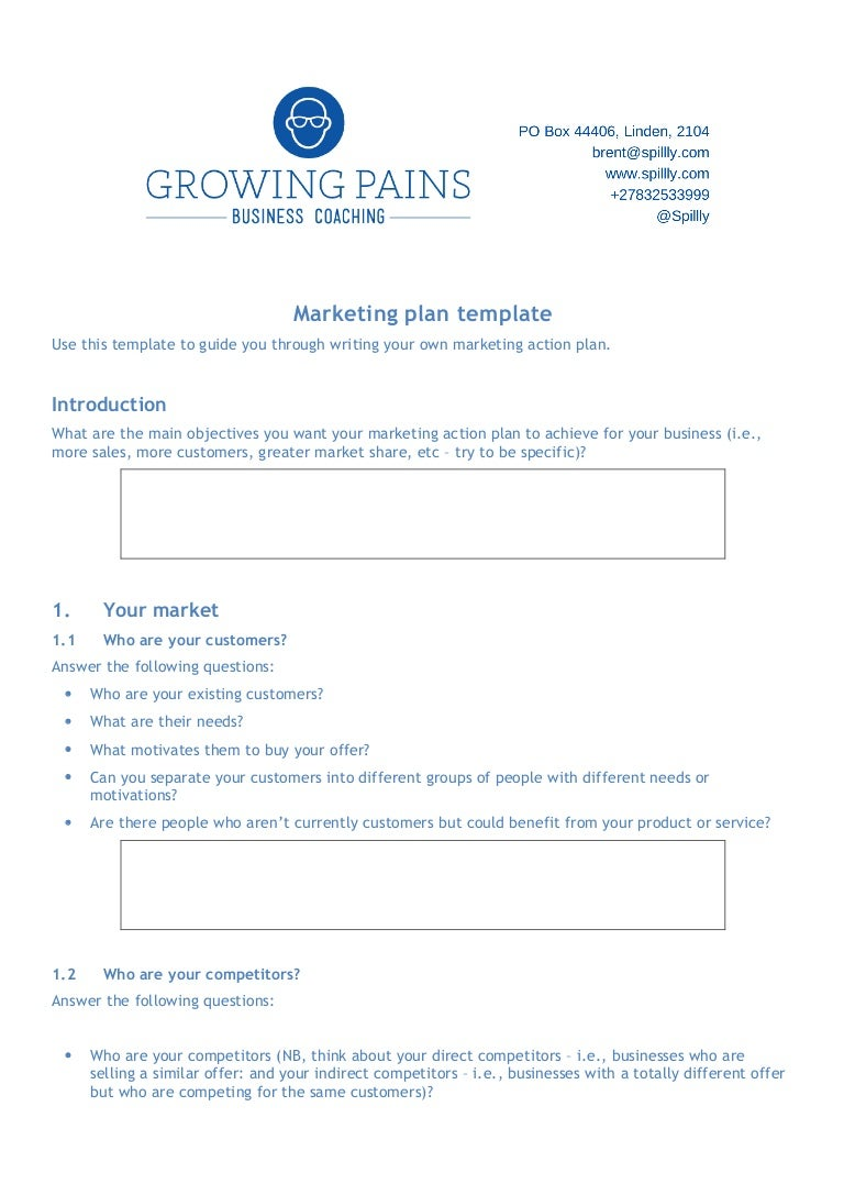 The marketing plan template for your business cheaphphosting Gallery