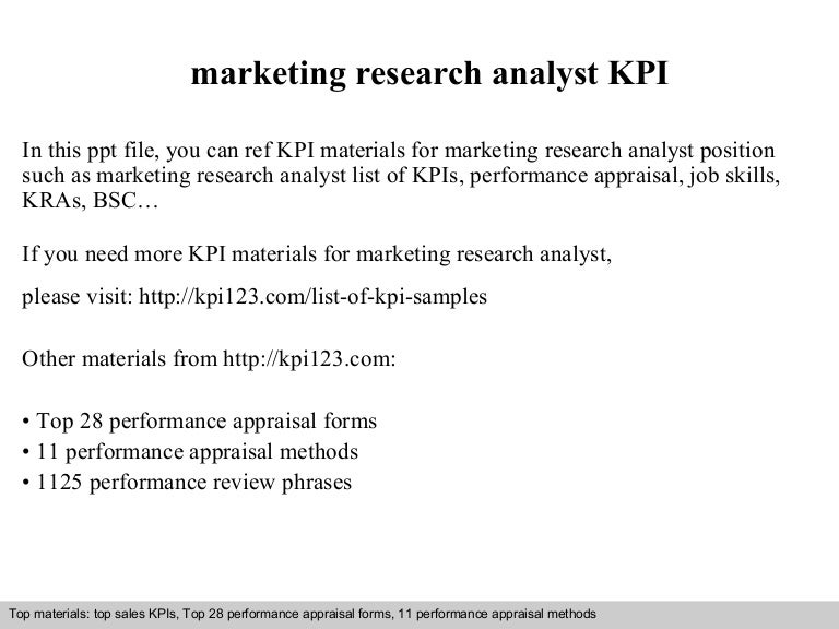 Marketing Research Analyst Kpi
