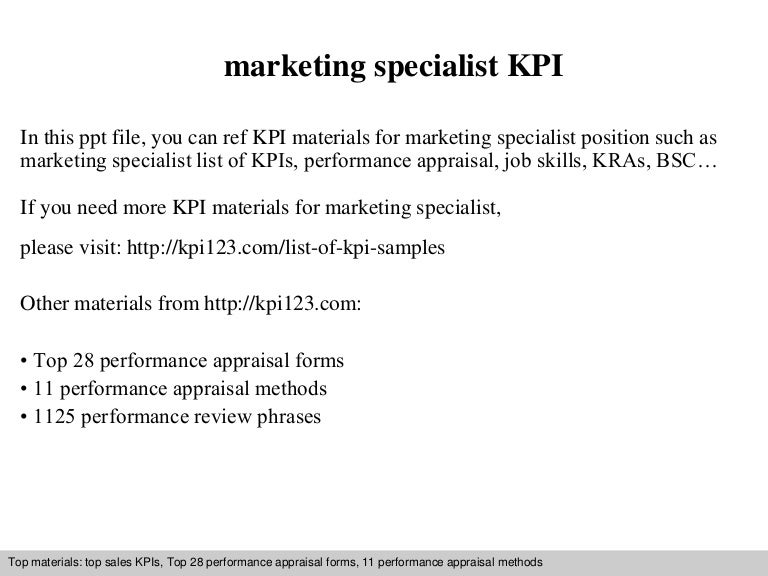 Marketing specialist kpi – Marketing Specialist Job Description