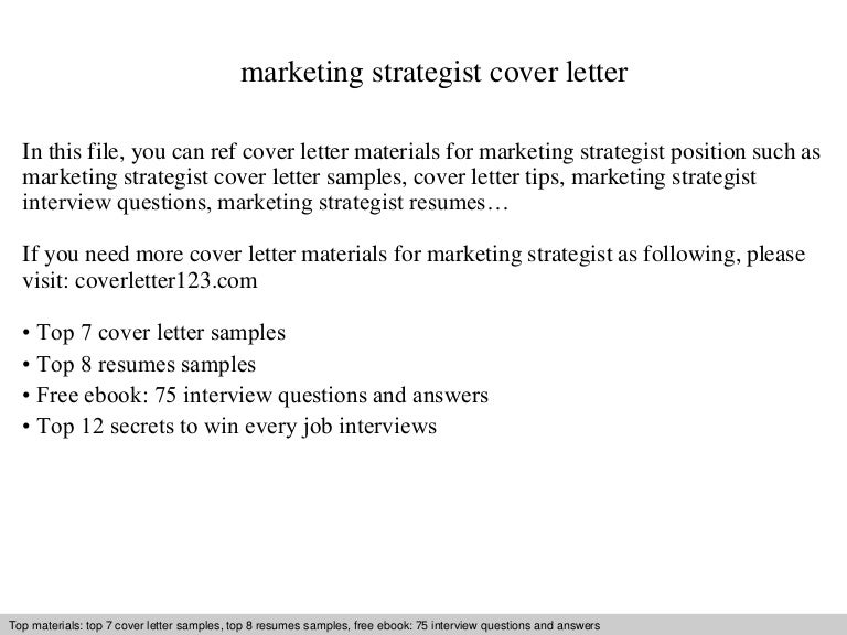 Marketing strategist cover letter