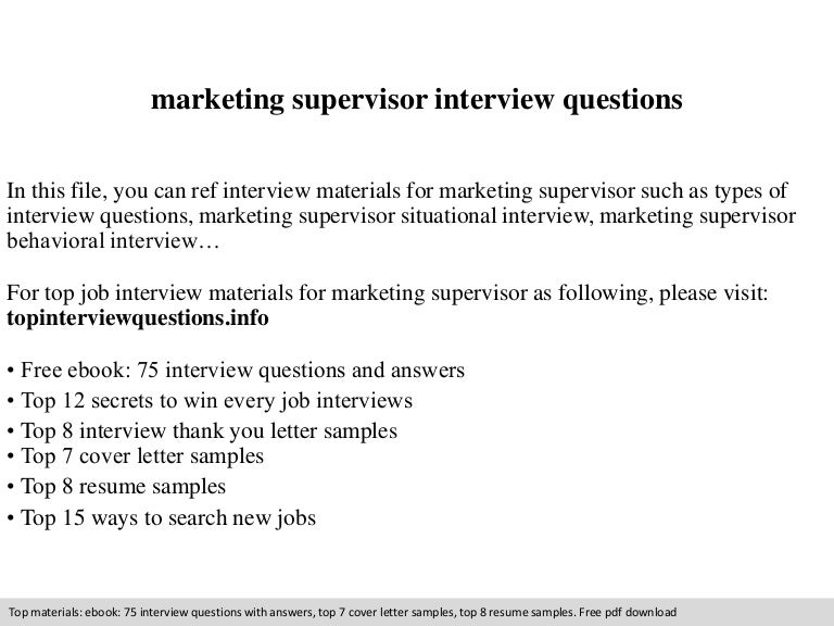 interview questions and answers for supervisory
