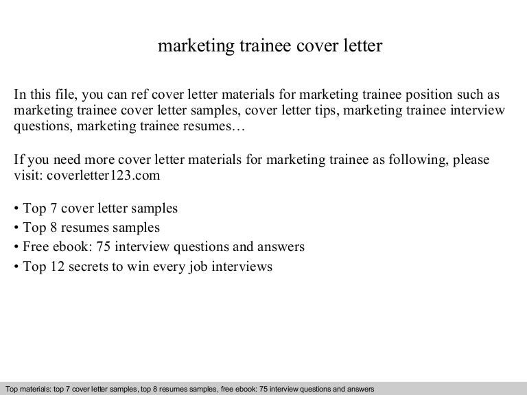 Marketing trainee cover letter