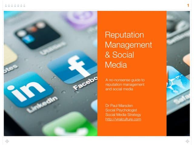 Reputation Management and Social Media