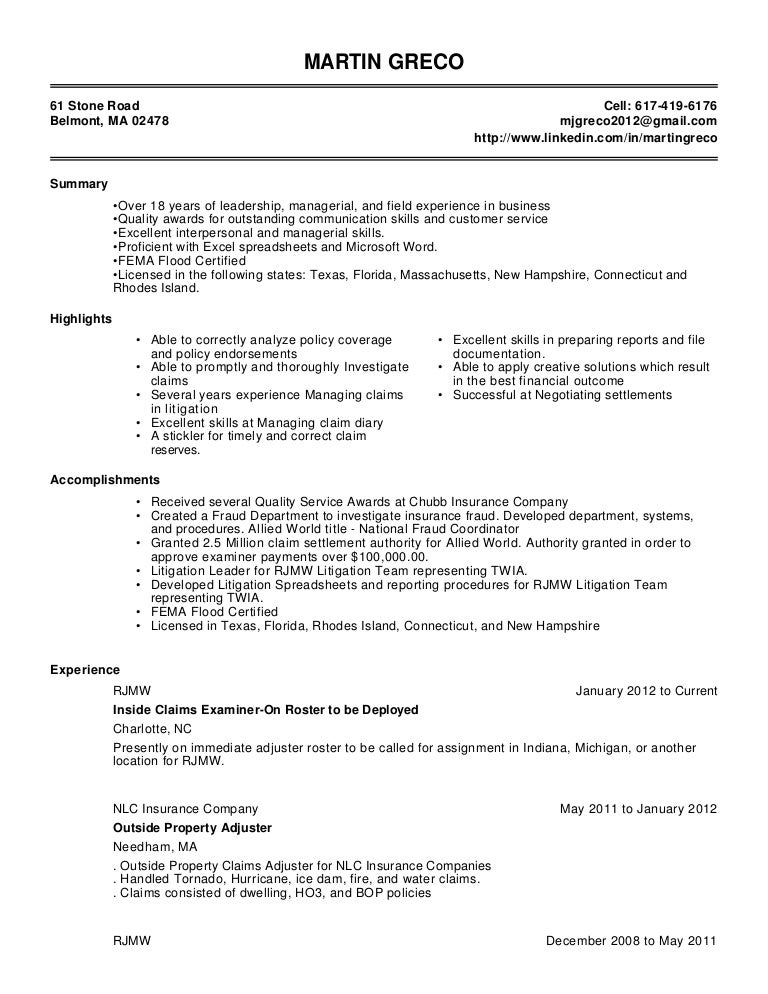 claims adjuster resume sample