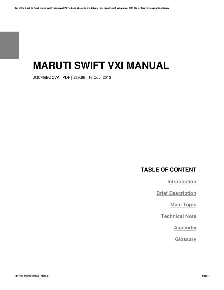 Maruti swift vxi manual