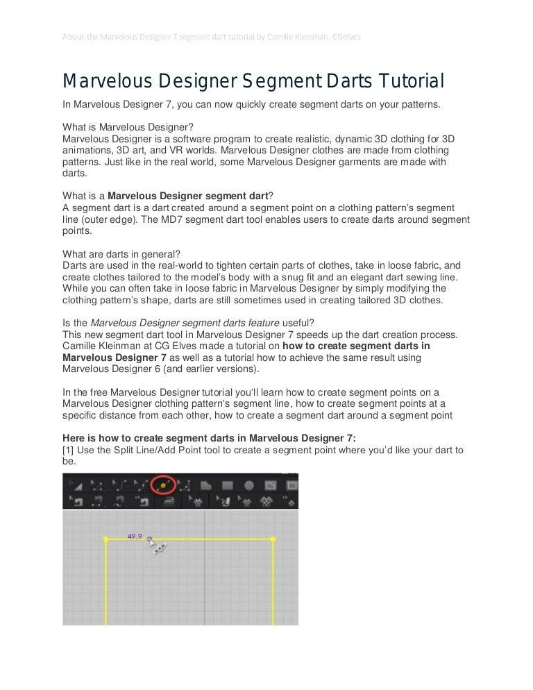 Marvelous Designer 7 Tutorial Segment Darts