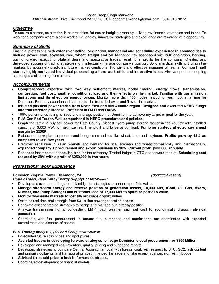 Oil trader resume